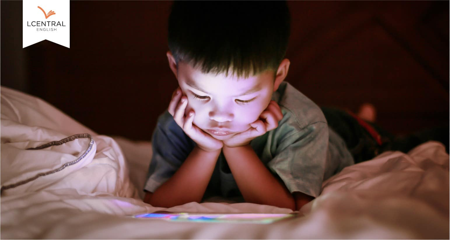 The child using tech gadgets during school breaks